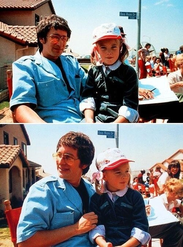 Steven Spielberg and Drew Barrymore on set of E.T