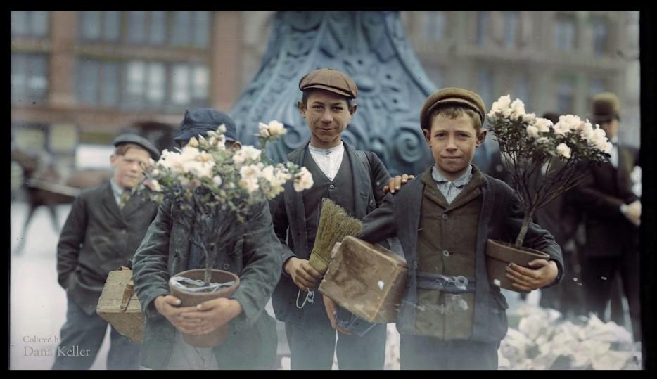 Boys buying flowers in 1908