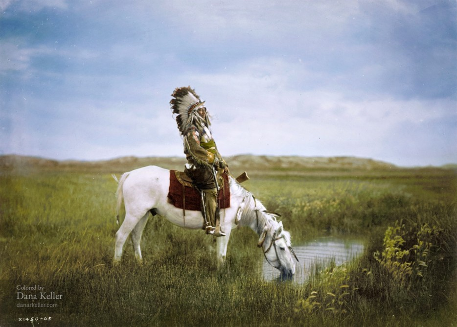 Red Hawk of the Oglala Sioux Tribe on horseback, 1905