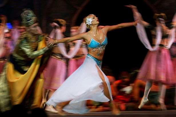 Russian ballerina Anastasia Volochkova dances in La Bayadere Suite ballet at National Palace of Culture in Sofia
